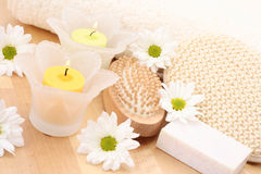 Towel and candles Stock Images