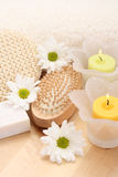 Towel and candles Stock Photography
