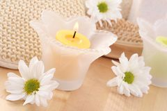 Towel and candles Stock Image