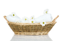 Towel and Chamomile flowers Stock Photography