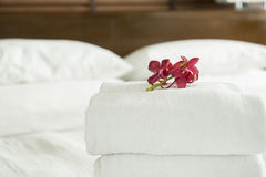 Towel. Close up, Fresh Towel with flowers placed on the inside of the hotel room Stock Photos