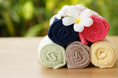 Towel cotton on the desk. Colourful cotton towel on desk Stock Image