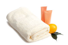 Towel cream and orange Royalty Free Stock Image
