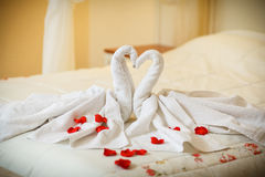 Towel decoration in hotel room, birds, swans Stock Photos