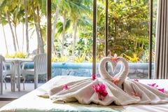 Towel decoration in hotel room, towel birds, room interio Royalty Free Stock Image
