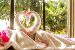 Towel decoration in hotel room, towel birds, room interio Stock Photography