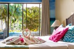 Towel decoration in hotel room, towel birds, swans, room interio Stock Photos