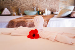 Towel decoration on massage table. Spa interior Royalty Free Stock Image