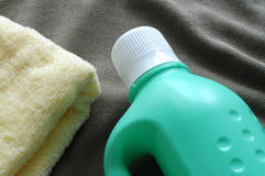 Towel and detergent Royalty Free Stock Images
