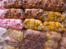 Towel Doll Bears and Ducks Packed in Plastic Royalty Free Stock Images