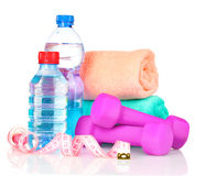 Towel, dumbbells and water bottle Stock Photography