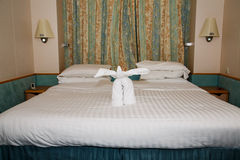 Towel Elephant on Bed Royalty Free Stock Photos