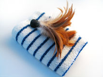 Towel and Feather Brush. Feather brush sitting on top of a blue and white striped towel royalty free stock photo