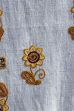Towel with floral ornament. Handmade towel with ukrainian floral ornamental pattern Stock Images