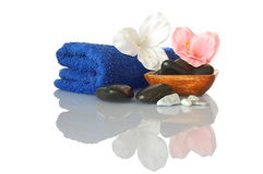 Towel and flower Stock Photo