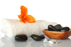 Towel and flower Royalty Free Stock Photos