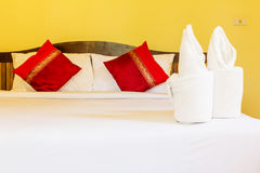 Towel flower in bedroom hotel Stock Images