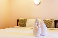 Towel flower in bedroom hotel Stock Photography