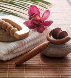 Soothing bath indulging massage. Towel flower massager for inner beauty Stock Image