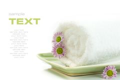 Towel with flowers Royalty Free Stock Photography