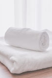 Towel fold in hotel room Royalty Free Stock Image