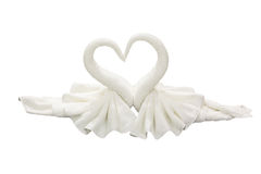 Towel folded in swan shape on white background Stock Photos