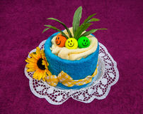 Towel funny cake gift . Stock Photos