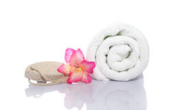 Towel, gladiola and pumice Royalty Free Stock Image