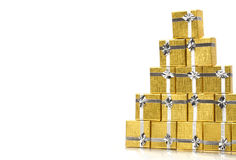 Towel gold gift boxes on white Royalty Free Stock Image
