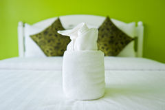 Towel in the Green Bedroom Royalty Free Stock Image