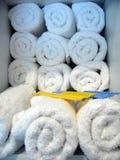 Towel and hairbrush royalty free stock photo