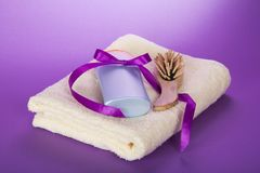 Towel, hairbrush and shampoo Royalty Free Stock Images
