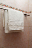 Towel on a hanger. Clean white towel on a hanger Royalty Free Stock Photo