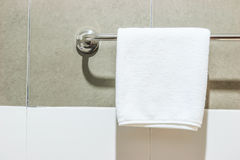 Towel on a hanger. In the bathroom Stock Photography