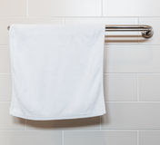 Towel on a hanger. In the bathroom Royalty Free Stock Images