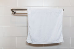 Towel on a hanger. In the bathroom Royalty Free Stock Photos