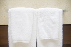 Towel on the hanger in the bathroom. Clean Royalty Free Stock Images