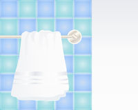 Towel hanging. An illustration of a clean fresh white towel hanging on a metallic towel rail with colorful tiles and space for text royalty free illustration