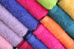 Towel heap on open market Royalty Free Stock Images