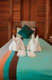 Towel in Hotel Room. Bedroom Royalty Free Stock Photo