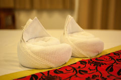 Towel in Hotel Room , Welcome guests , Room service. Towel in Hotel Room , Welcome guests Royalty Free Stock Photography
