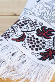 Towel for the icon with the red-black Ukrainian embroidery Stock Photo