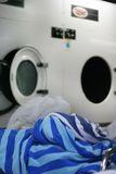 Towel at laundry. Photograph of laundry industry at hotel Stock Photos