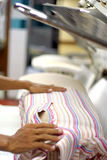 Towel at laundry. Photograph of laundry industry at hotel Royalty Free Stock Image