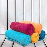Towel. Laundry textile bathroom health spa rolled up beach stock images
