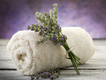 Towel with lavender Stock Photography