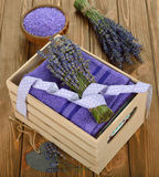 Towel and lavender Royalty Free Stock Image