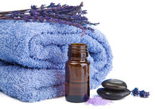 Towel and lavender isolated Stock Photos