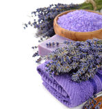 Towel and lavender Stock Image