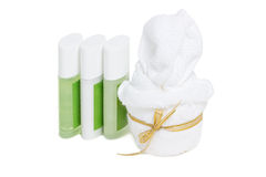 Towel With Liquid Soap, Shampoo And Treatment Set. Royalty Free Stock Photo
